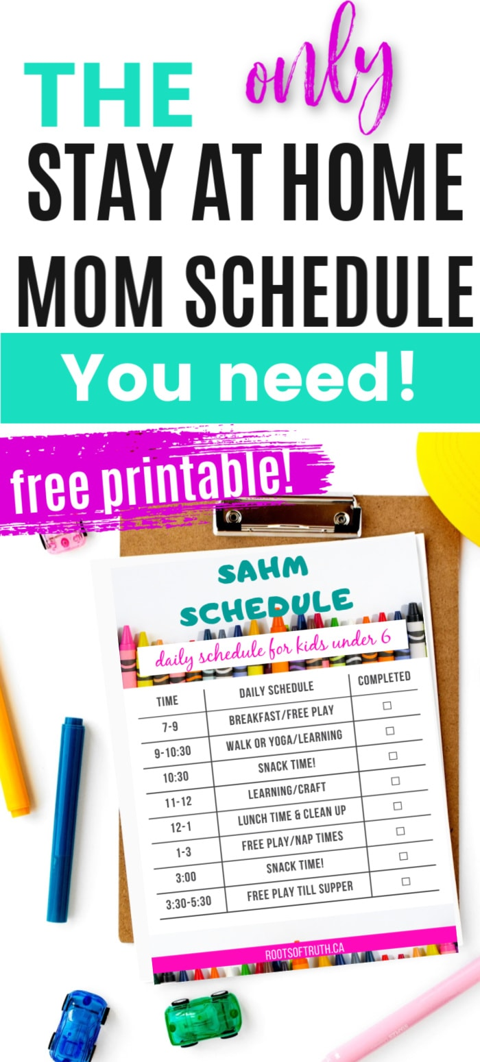 sahm schedule/free printable stay at home mom schedule